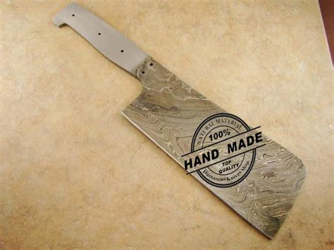 Handmade Butcher Knives - blank blade damascus butchers cleaver chef s knife blank blade