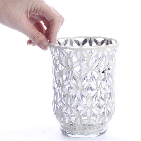 Mosaic Hurricane Vase by Mirror Mosaic Snowflake Glass Hurricane Vase Candles And Accessories Home Decor