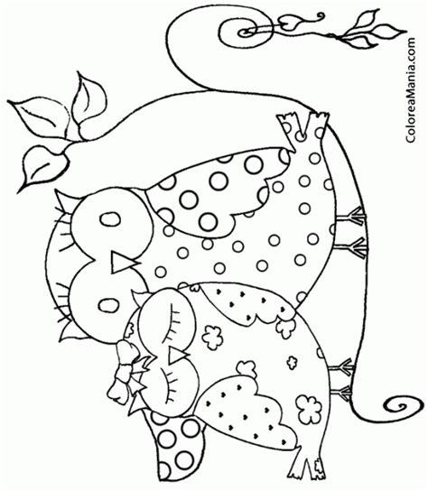 imagenes para pintar buhos colorear bhos enamorados aves dibujo para colorear gratis