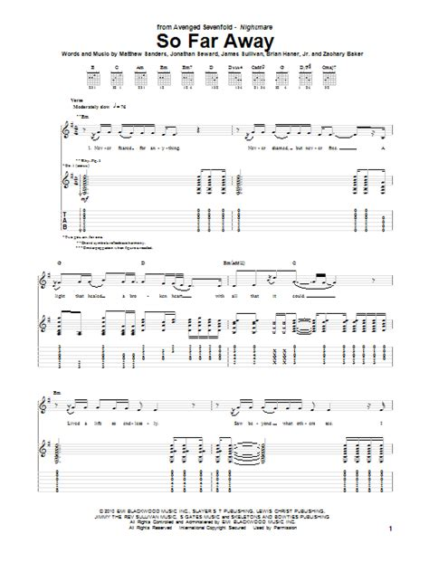 a7x strength of the world instrumental so far away sheet direct