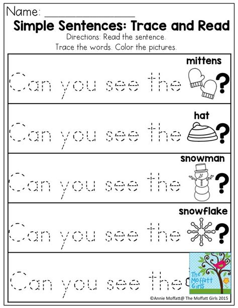 free printable tracing sentences worksheets simple sentences trace and read great sight word