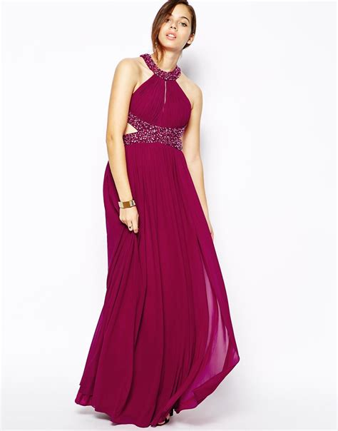 forever unique abba halter maxi dress with embellishment