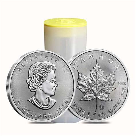 1 Oz 2015 Canadian Maple Leaf Silver Coin - roll of 25 2015 1 oz silver canadian maple leaf 9999