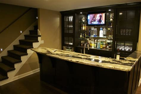 renovated home theater  bar contemporary basement