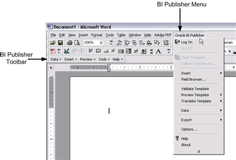 bi publisher template builder creating rtf templates using the template builder for word