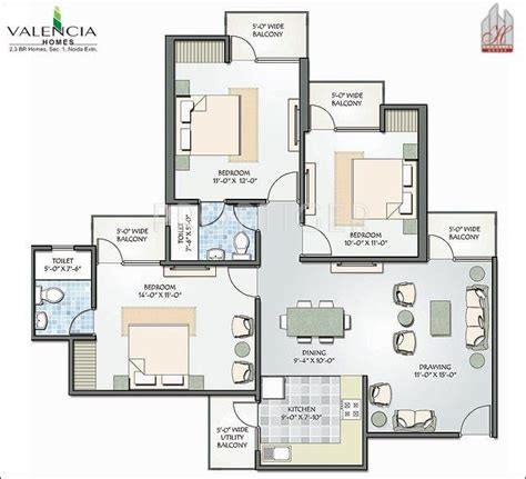 1400 square feet in meters 1400 sq ft 3 bhk floor plan image hawelia group valencia