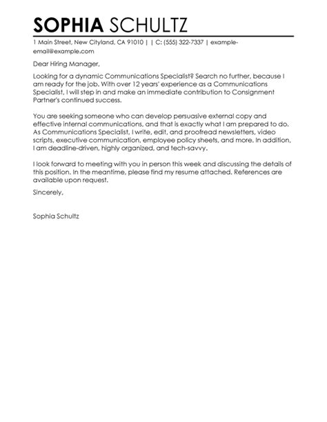 best communications specialist cover letter exles
