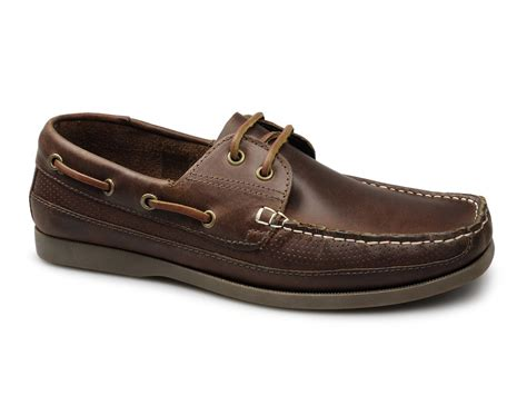 leather boat shoes ikon anchor mens leather perforated boat shoes brown buy