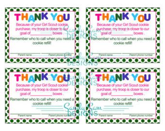 printable thank you cards girl scout cookies girl scout cookie thank you clipart clipart suggest