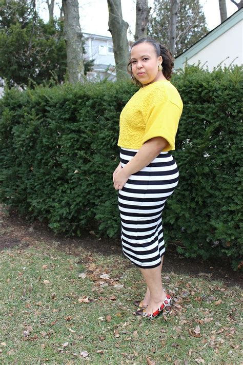 h m black and white striped midi pencil skirt with mustard