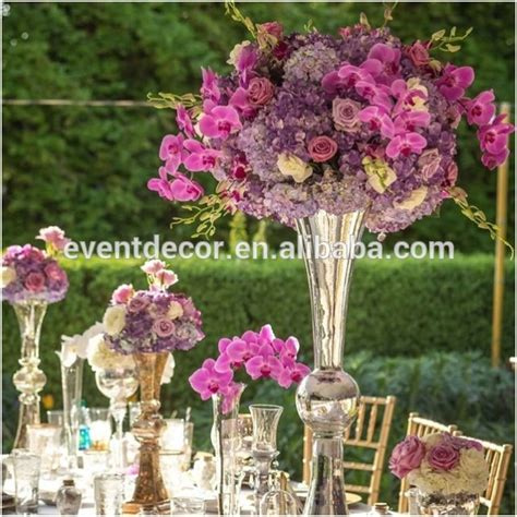 silver vase and flower centerpiece glass trumpet vase for