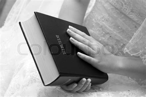 White Wedding Dress Bible by Reading The Bible Black And White Photography