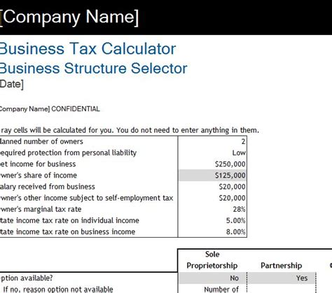 business tax calculator  excel templates