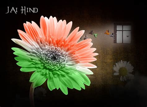 Handmade Independence Day Cards - flower wallpaper card of independence day india