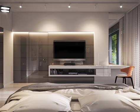 tv on wall in bedroom bedroom in private apartment vis for lk projekt pl on