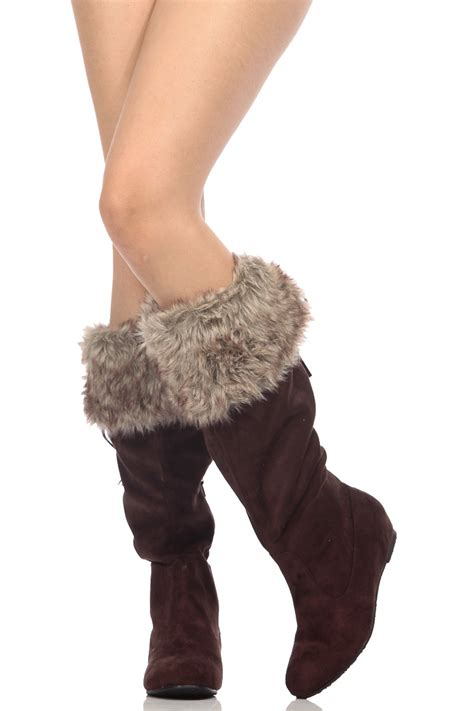 Faux Fur Boots brown faux suede knee high faux fur boots cicihot boots