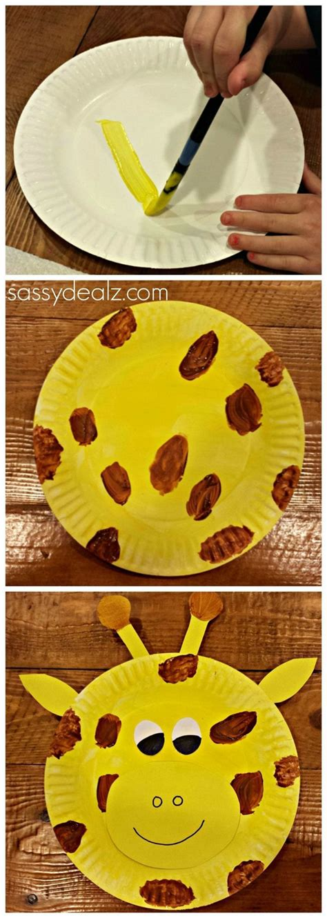 Giraffe Paper Plate Craft - 12 paper plate animals craft ideas for