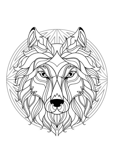 images to color mandala tete loup 1 mandalas coloriages difficiles