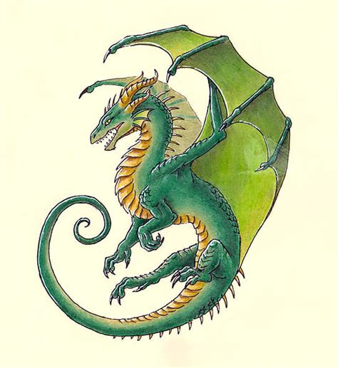 green dragon tattoo green design