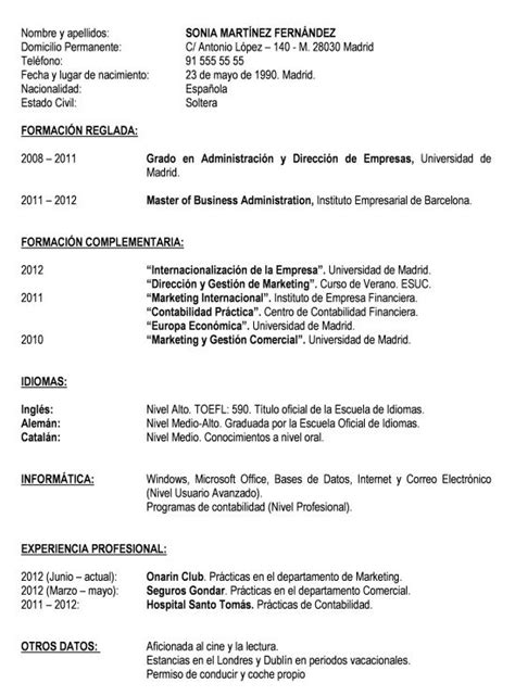 Modelo De Curriculum Vitae Basico Ejemplo Modelo Curriculum Basico Modelo Curriculum