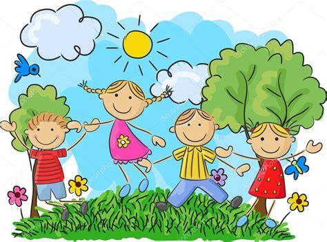 Imagenes De Niños Jugando Y Bailando | dibujos animados poco ni 241 os saltando y bailando juntos