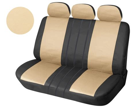 solid bench seat covers leather like rear seat cover zip type for full solid bench bktan ebay