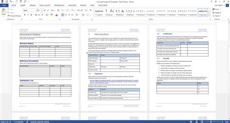 Concept Proposal Template Word Free Excel Spreadsheets Microsoft Table Templates
