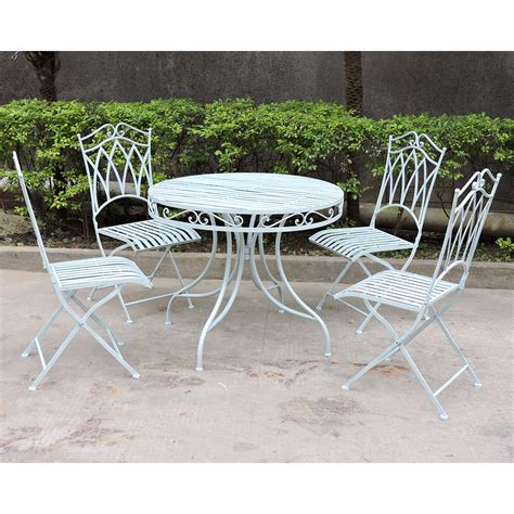 Green Wrought Iron Patio Furniture Charles Bentley Garden 5 Wrought Iron Furniture Set In Green Or Blue