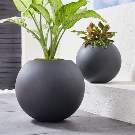 sphere dark gray planters crate  barrel