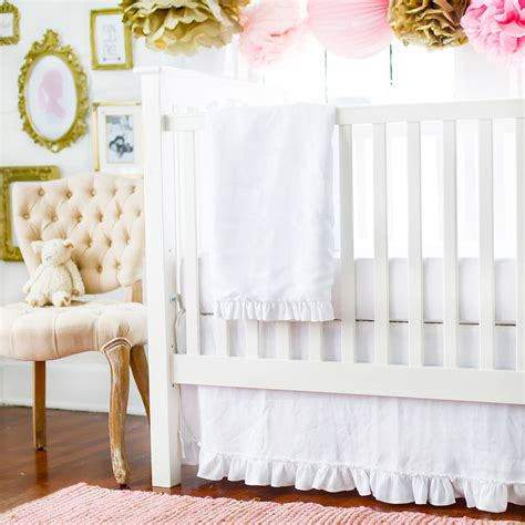 white crib bedding linen baby bedding white linen baby