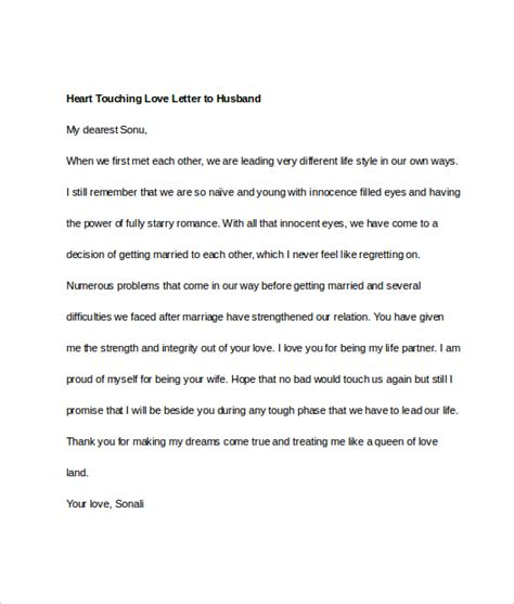 Letter To Husband Letters To Husband 11 Free Documents In Word Pdf