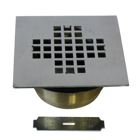 2 in brass shower drain with 4 1 4 in square cover in