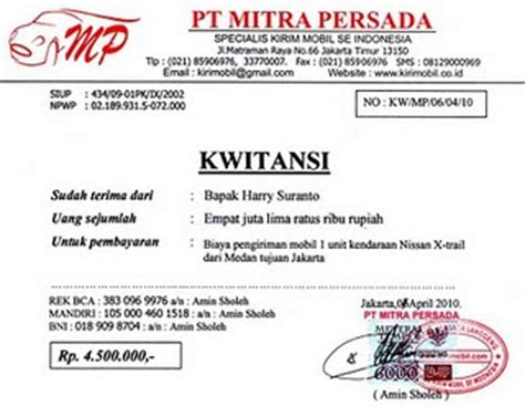 pin kwitansi surat tanda bukti pembayaran pengiriman