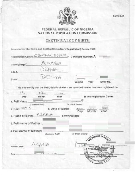 full birth certificate for passport application gateway nigeria official website