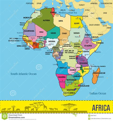 list of countries and capitals by continent map of africa with all countries and their capitals stock