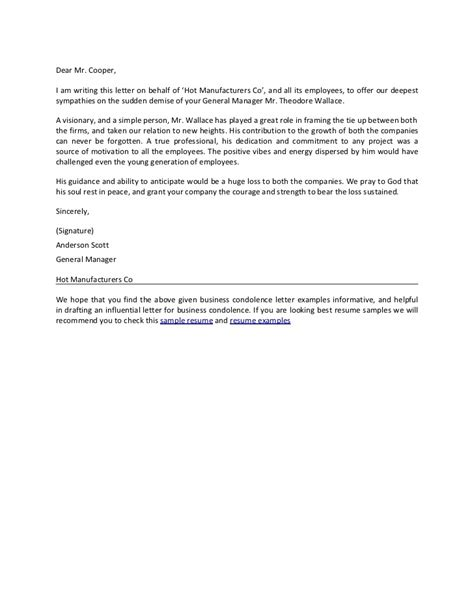Closing Bereavement Letter Business Condolence Letter