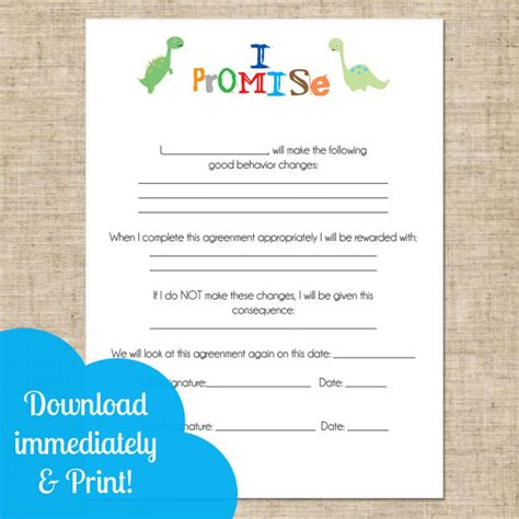 children s contract template printable and parent contract behavioral chart