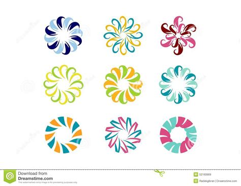 logotype pattern circle logo floral template set of round abstract