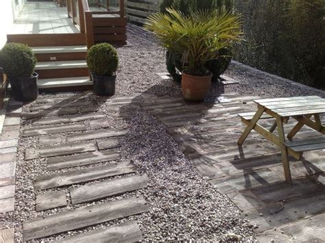 Concrete Sleepers Wood Effect wood effect concrete sleepers in gravel einfahrt