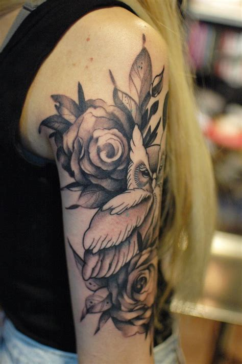 owl rose tattoo owl with roses black and gray on sleeve