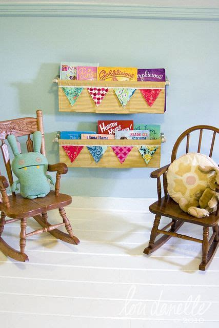 diy hanging book shelf kid inspired fabric