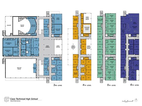 floor plans for school buildings cass technical high school designshare projects