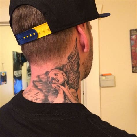 angel neck tattoo neck tattoos
