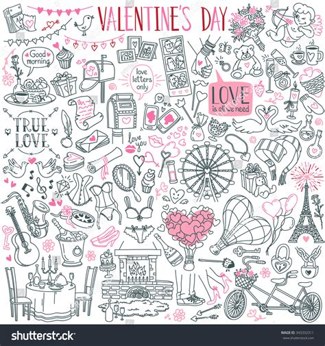 doodle theme valentines day theme doodle set traditional stock vector