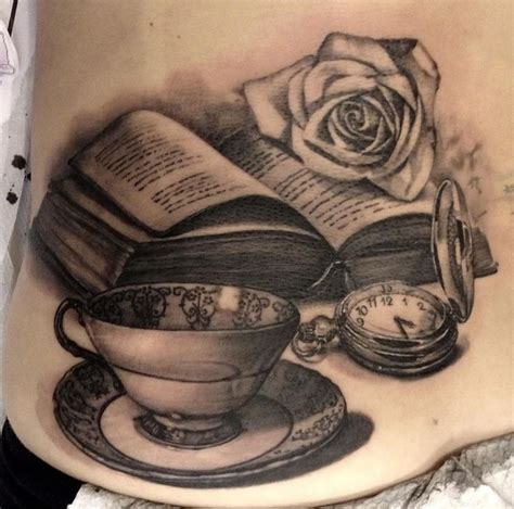 pocket watch teacup and book tattoo black amp grey art