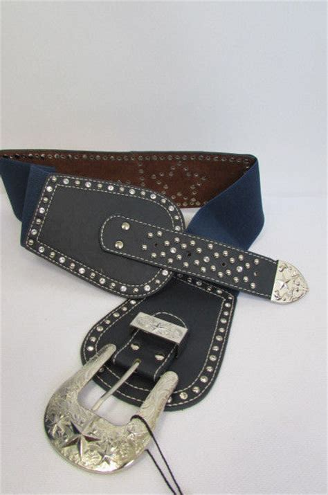 new navy blue leather elastic wide western fashion