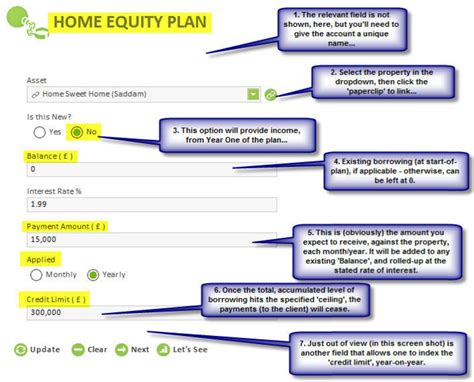 step by step how to input a home equity plan a