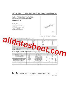 datasheet transistor c1815 c1815 datasheet pdf unisonic technologies