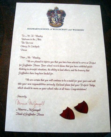 Hogwarts Acceptance Letter Legendary Letters Prefect Letter With Both Quot Prefect Quot Quot Pinhead Quot Badges