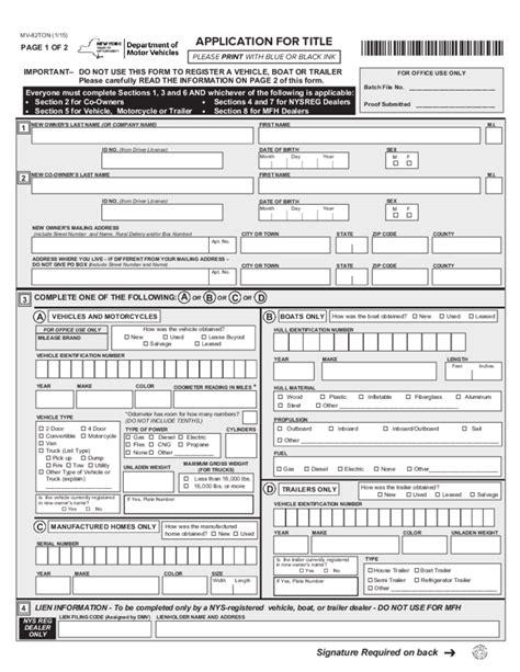nys dmv boat trailer registration form mv 82ton application for title new york free download
